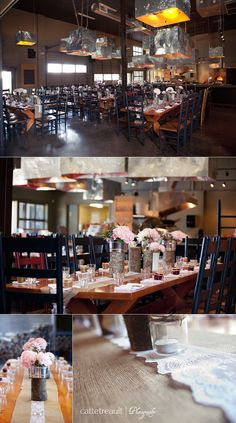 All it takes are a couple bouquets and the room is ready for a rustic wedding.