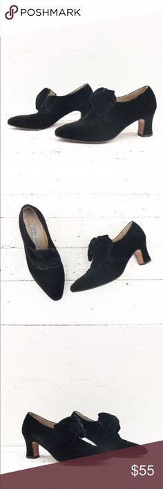 """Laura Ashley black velvet Victorian style heels Laura Ashley black velvet Victorian style heels with Louis Heels   Marked size 38   Insole - 9 3/4""""  Outsole - 10""""  Ball of Foot - 3 1/4""""  Heel - 2 1/2"""" Laura Ashley Shoes Heels"""
