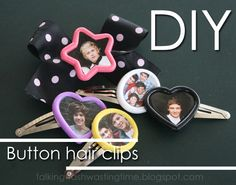DIY Button picture hair clips & bows, customise with any picture you like, your puppy, kitten or favourite band/group like One Direction Diy Craft Projects, Projects To Try, Diy Crafts, Craft Ideas, One Direction Crafts, Fabric Crafts, Paper Crafts, Crafty Craft, Crafting