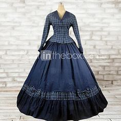 Outfits Classic/Traditional Lolita Lolita Cosplay Lolita Dress Ink Blue Plaid Long Sleeve Floor Length Top / Dress For Women Cotton 2017 - $79.19