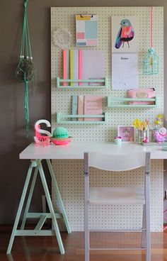 Pegboard work station.