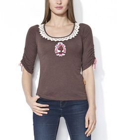 Look what I found on #zulily! Chocolate & White Lace Momy Top #zulilyfinds