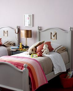 Girls room - taupe and pink & orange