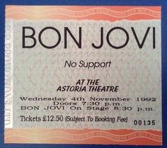 Bon jovi - 4th november 1992 - astoria #theatre, #london #ticket,  View more on the LINK: http://www.zeppy.io/product/gb/2/302035449523/
