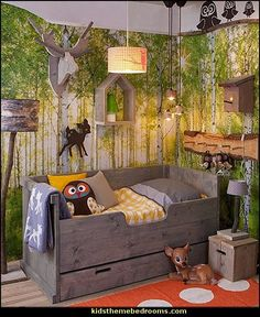 woodland forest theme bedroom decorating ideas-forest animals theme bedroom ideas:
