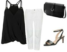 Black top+white jeans+black ankle strap heeled sandals+black schoulder bag. Summer outfit 2016