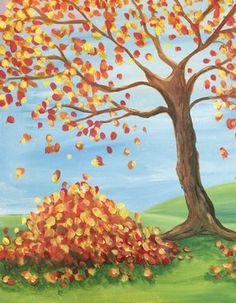 Autumn leaves pile, tree beginner painting idea. Paint Nite Boston | Regina (Medford) 10/28/2014