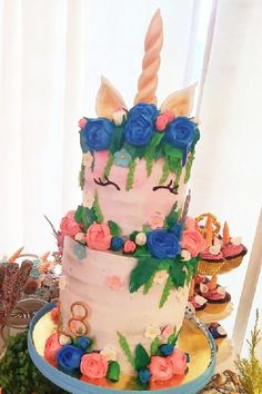 Take a look at this gorgeous glam unicorn birthday party! The cake is amazing! See more party ideas and share yours at CatchMyParty.com