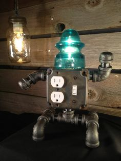 Robot Phone Charger Insulator Lamp.  T.Ed by EclecticElectrics, $115.00