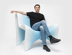 Philipp Aduatz designed a gradient collection that applies colored dye directly into the nozzle while 3D printing concrete furniture.
