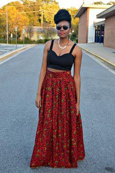 jupe paysanne longue en wax pagne africain pagne africain jupes longues et pagne. Black Bedroom Furniture Sets. Home Design Ideas