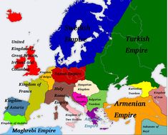 Europe-Before-Great-Holy-War by on DeviantArt Two Sicilies, Badass Drawings, Ukrainian Art, Alternate History, Great Britain, Holi, Flags, Empire, Alternative