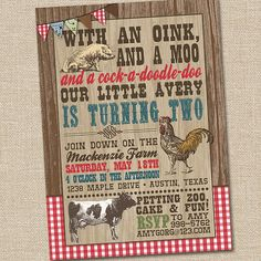 Old MacDonald on the Farm Vintage Petting Zoo Printable Birthday Party Invitation