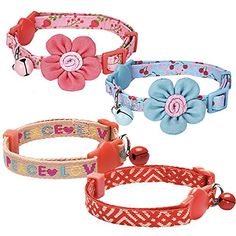 Blueberry Pet Pack of 2 Neck 913 Lovely Cherry and Floral Prints Adjustable Breakaway Cat Collar with Flower  Bell ** Click image to review more details.