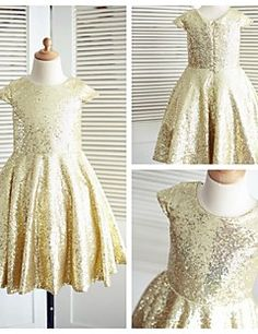 A-line Knee-length Flower Girl Dress - Sequined Short Sleeve