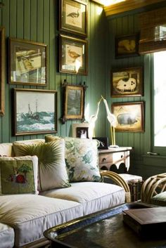 Good idea for tacky wood paneling. Tan or white would also look great!