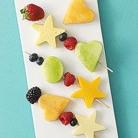 Fruit Kabobs! Use 1- to 1-1/2-inch cookie cutters to cut shapes out of cantaloupe and honeydew slices and cheese. Thread fruit and cheese onto 4 small skewers. Place in a flat storage container and chill until serving time (or up to 24 hours). Serves 2.
