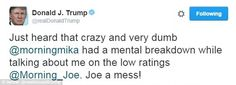 Donald Trump launched new attacks on 'Morning Joe' co-host Mika Brzezinski, branding her 'very dumb' and mentally unstableafter the show criticized his weak ground strategy in Florida