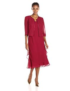 Maya Brooke Women's Shimmer Trimmed Jacket and Mid Length Dress Set  Mother of the bride Guest of wedding Guest of wedding Occasion  http://www.artydress.com/maya-brooke-womens-shimmer-trimmed-jacket-and-mid-length-dress-set/