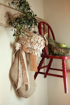 Burlap Christmas Stocking cotton ruffles
