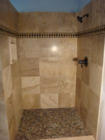 Travertine Shower Ideas custom shower | river rock shower, travertine shower and rock shower