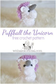 Puffball the Unicorn is a fun and easy crochet pattern. This cutie is made from yarn pom poms and crochet pieces. Perfect for gifts or yourself! Crochet Hooks, Free Crochet, Clover Pom Pom Maker, Pom Pom Animals, Pom Pom Crafts, Crochet Unicorn, Unicorn Crafts, Yarn Sizes, Little Unicorn