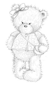 Bear Coloring Pages, Adult Coloring Book Pages, Coloring Books, Baby Congratulations Card, Tole Painting Patterns, Christmas Embroidery Patterns, Pintura Country, Bear Art, Animal Cards