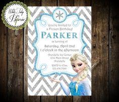 Frozen Elsa Silver Glitter Birthday by WhiteTulipPaperie on Etsy