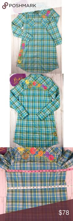 """Ivy Jane Blue Plaid Embroidered Tunic Size M Gorgeous floral embroidery gives this otherwise conservative style tunic a boho flair! This Ivy Jane Tunic by Uncle Frank is NWT and has not been worn. Pair this little baby with leggings or skinny jeans and a bootie - instant boho chic! Covered snap closure and three-snap cuffs puts a little """"howdy"""" in your do. Fun, flirty little top! Boutique retail price of $175. Measurements in photos. Ivy Jane Tops Tunics"""