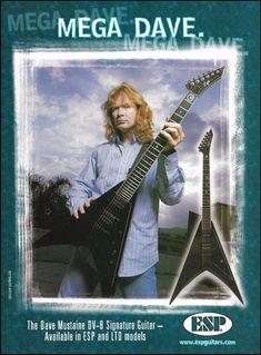 Megadeth Dave Mustaine Signature GHS guitar strings Rocktron Preamp 8 x 11 ad Esp Guitars, Signature Guitar, Dave Mustaine, Old Music, Thrash Metal, Metalhead, Metal Bands, Fails, Tours