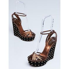 0211f9ef92c Pre-owned Gucci Black Suede and Bronze Leather Studded Wedges ( 195) ❤ liked  on Polyvore featuring shoes