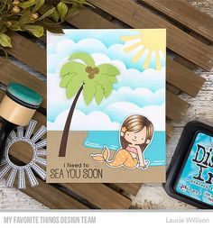 Handmade card from Laurie Willison featuring products from My Favorite Things Cloud Stencil, Beach Cards, Scrapbook Cards, Scrapbooking, Making Greeting Cards, Mft Stamps, Cricut Cards, Copics, Paper Cards