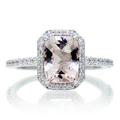 Morganite 8x6 cushion diamond halo engagement ring 14k white gold $980