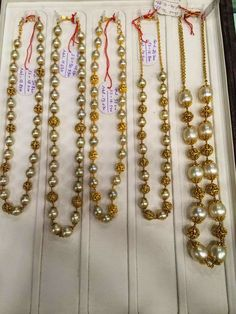 South Sea Pearls and Nakshi Balls Mala - Indian Jewellery Designs Pearl Necklace Designs, Jewelry Design Earrings, Gold Earrings Designs, Beaded Jewelry Designs, Bead Jewellery, Pendant Jewelry, Gold Necklace, Real Gold Jewelry, Gold Jewelry Simple
