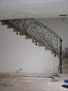Wrought Iron Stair Railing, Iron Staircase, Stair Railing Design, Home Stairs Design, House Gate Design, Metal Stairs, Interior Stairs, Modern Staircase, Grill Design