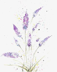 Ink Fresh And Elegant Lavender, Lavender, Flowers, Ink PNG Transparent Image and Clipart for Free Do Watercolor Cards, Watercolor Illustration, Watercolour Painting, Watercolor Flowers, Abstract Flowers, Watercolor Techniques, Flower Art, Art Drawings, Art Prints