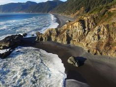 Shelter Cove, California This black sand beach in California is the ideal spot to unwind, surrounded by redwood trees, mountains and tidal pools. Just off shore, visitors can spot seals, pelicans and sea lions lazing on rocks.