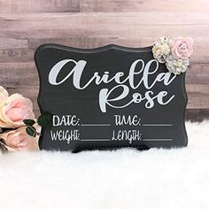 Baby Name Sign, Baby Hospital Name sign with stats MarieL. Goddaughter Gifts, Niece Gifts, Auntie Gifts, Friend Gifts, Baby Name Signs, Family Name Signs, Baby Names, Brides Maid Proposal, Bridesmaid Proposal Gifts