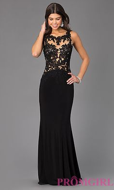 Floor Length Sleeveless Madison James Dress with Lace Bodice at PromGirl.com