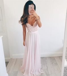 Prom Dresses,Pink Long Prom Dress,Elegant A-line Prom Dress,V-neck Long Chiffon Evening Dress