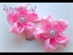 МЯТНЫЕ резинки для волос канзаши своими руками! Как прикрепить резинку к цветку канзаши! - YouTube