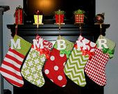 Personalized Red and Green Christmas Stocking With Wood Initial @ Etsy