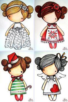 ru / Holiday Series - Scheme for sketches Magic__ Dolls - kat-gafenko Shrink Art, Digi Stamps, Art Plastique, Cute Illustration, Rock Art, Cute Cartoon, Cute Drawings, Cute Art, Paper Dolls