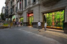 A Replay store front with a vertical garden - that's the work of swedish landscape architect Michael Hellgren.