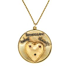 Vintage Heart & Ruby Engraved Pendant - Claude Morady Estate Jewelry Gold Today, Gold Medallion, Vintage Heart, Heart Locket, Heart Of Gold, Gold Jewellery, Blue Sapphire, Personal Style, Charms