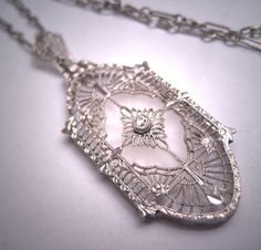 Antique Camphor Glass Crystal Necklace Vintage Art Deco 1920 Rhodium.  Antique vintage, estate jewelry, filigree necklace, art deco, retro art deco, victorian edwardian, lavaliere necklace, wedding bridal, pendant necklace, gift idea.  Offered by Aawsomblei Antique Jewelry.