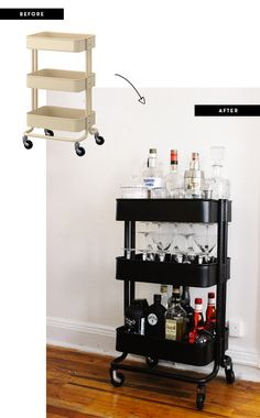 Ikea bar cart, DIY, cocktails, home decoration, stylish storage, entertaining at home, drinks party, elegant everyday entertaining, bar cart, decorating, happy hour, Ikea hack, affordable bar cart, living room makeover, decorating a small apartment, how to apply spray paint