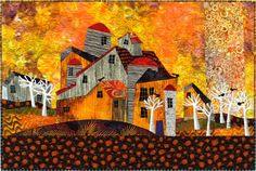 The Barns at Birch Hill ©2010 Judith Reilly 21″ x 32″ fabric and thread original artwork. Machine pieced and appliquéd; machine quilted. 100% cotton fabrics.