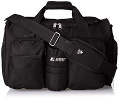 Duffel bag sports Gym w/ side Pocket strap Velcro Black Travel Fitness Duffle #everest #DuffleGymBag