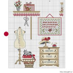 Craft room with kitty cross stitch pattern Funny Cross Stitch Patterns, Cross Stitch Borders, Cross Stitch Samplers, Cross Stitch Charts, Cross Stitch Designs, Cross Stitching, Cross Stitch Embroidery, Embroidery Patterns, Cross Stitch Pictures